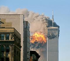 Image of the two Twin Towers on fire