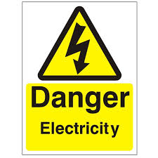 Danger electricity in yellow triangle